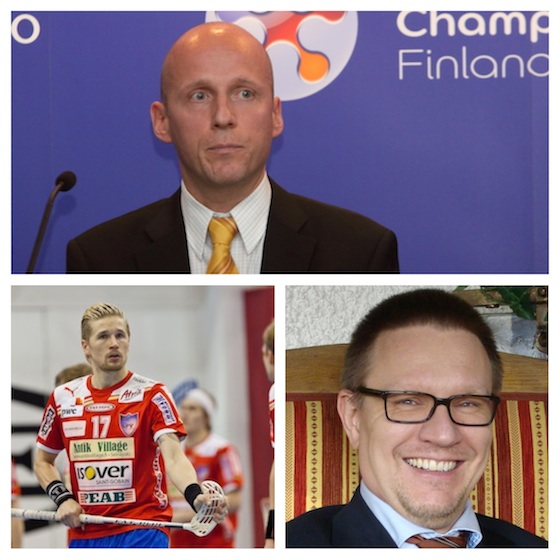 Huippupelaaja Mikko Kohonen (alhaalla vasemmalla) lähtee ehdolle Salibandyliiton hallitukseen. Ismo Haaponiemi (ylhäällä) ja Tuukka Heinonen (alhaalla oikealla) ovat odotetusti ainoat ehdokkaat Salibandyliiton puheenjohtajaksi.