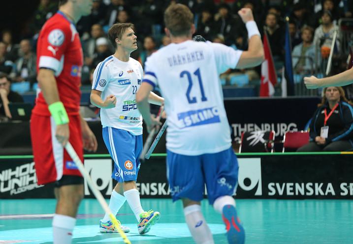 Jani Kukkola osui Tshekkiä vastaan kahdesti. Kuva: Salibandyliiga