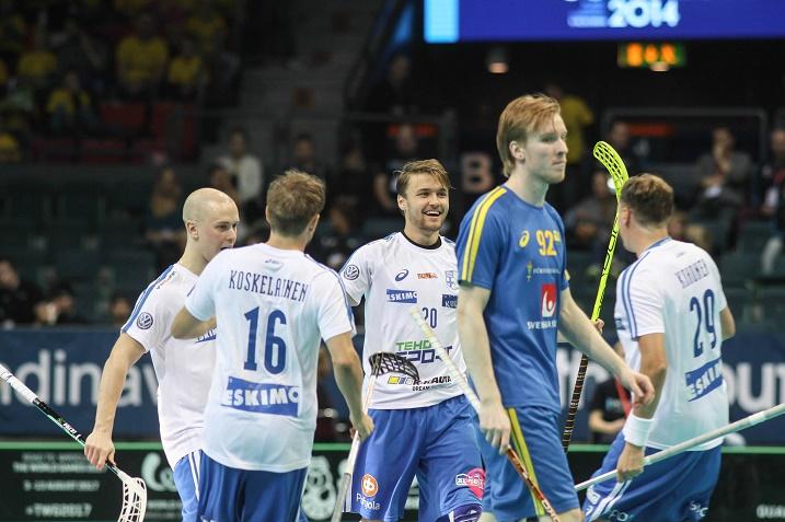Nico Salo vastasi Suomen toisesta osumasta. Kuva: Salibandyliiga