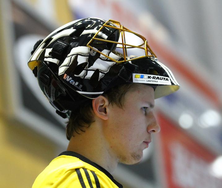 SSV-vahti Santtu Strandberg valittiin tiistaina ottelun parhaaksi pelaajaksi –ja aivan aiheesta. Kuva: Juhani Järvenpää