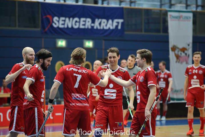 UHC Weissenfels juhli voittoa tänään ja tasoitti salibandyliigan Bundesliigan finaalisarjan. Arkistokuva: Matthias Kuch / floorball-pics.de