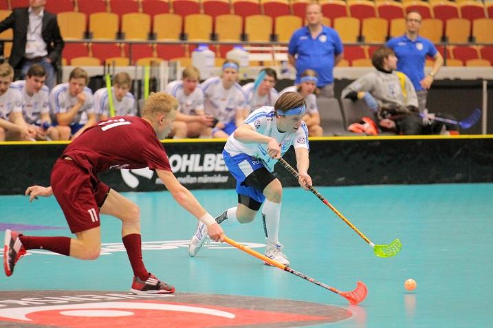 Suomen Jesse Ruokostenpohjan (oik.) mukaan Latvia oli ottelussa sellainen kuin he olivat odottaneet. Kuva: IFF