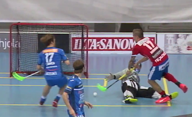 Mikko Kohonen oli ottelun hahmo Raholan illassa. Kuva: Kuvakaappaus videolta.