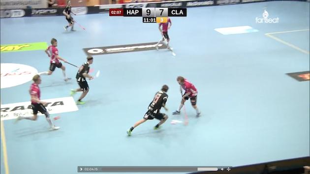 """Happeen """"ansa-alivoima"""" hyökkää 9-7-johtoasemassa kolmella pelaajalla, seurauksena Juuso Heikkisen pallonmenetys ja vaarallinen ylivoimahyökkäys"""