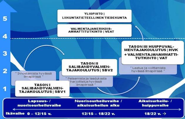 KUVA 8.  Salibandyn valmennuskoulutusjärjestelmä (Salibandyliitto valmennuskeskus s.a.).