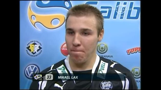 Mikael Lax aloitti liigauransa vahvasti. 19-vuotias TPS-kapteeni osui heti avausottelussa. Kuva: Kuvakaappaus videolta