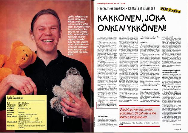 Jyrki Laaksosta haastateltiin Salibandylehteen MM-kisojen kynnyksellä vuonna 1996. Linkki haastatteluun löytyy artikkelin lopusta. Kuva: Kuvakaappaus Salibandylehdestä