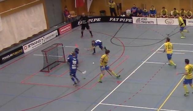 LeBan avausosuma FBC Turkua vastaan syntyi varsin onnekkaasti. Kuva: Kuvakaappaus videolta.