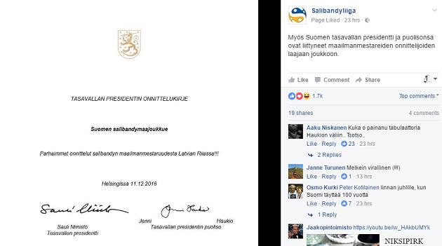 Kuva: Kuvakaappaus Salibandyliigan Facebook-sivulta